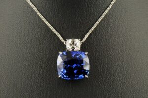 Cushion Sapphire and Cushion Diamond Pendant-0