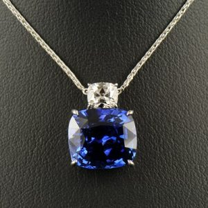 Cushion Sapphire and Cushion Diamond Pendant-0