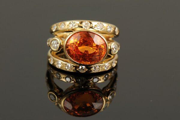 Mandarin Garnet and Diamond Ring-0
