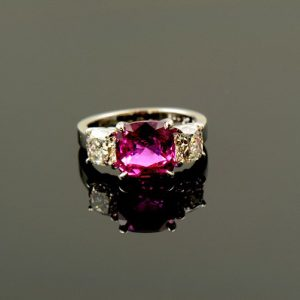 Pink Sapphire and Diamond Ring-0