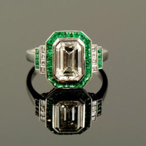 Emerald & Diamond Art Deco Platinum Ring-0