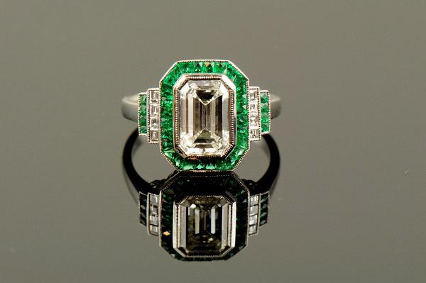 Emerald & Diamond Art Deco Platinum Ring-0