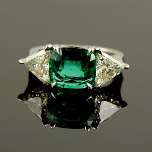Emerald & Trillion Cut Diamonds Ring-0
