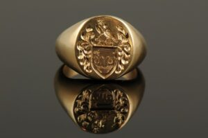 Signet Ring Engraved with Family Crest-0